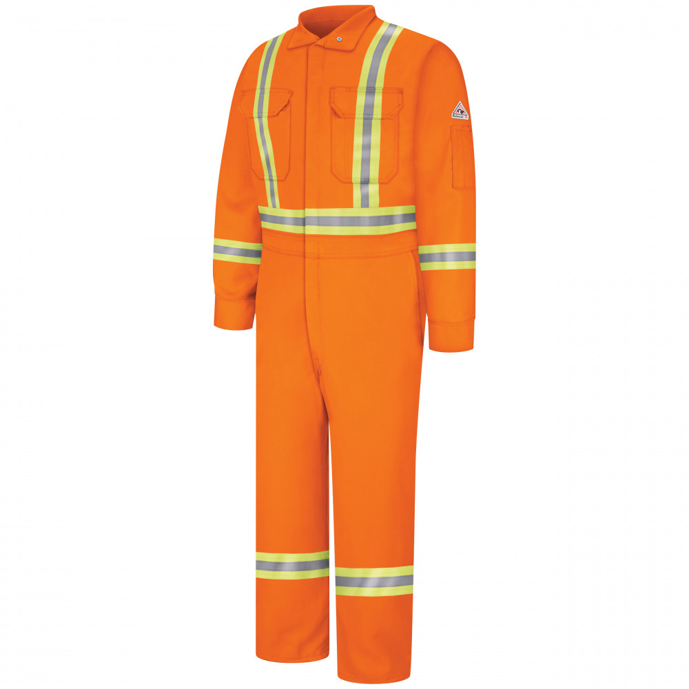 Bulwark Men 9OZ Premium Coverall with Reflective Trim Orange Color