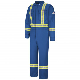 Bulwark Men 9OZ Premium Coverall with Reflective Trim Royal Blue Color