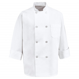 Chef Designs Eight Pearl Button Chef Coat 2/Pack
