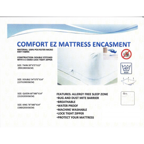 "Mattress Protector Bed bug water proof Zippered Economy Twin 39""x 75""x 15"" 2/Pack"