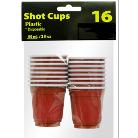 Shot Glasses Plastic mini Red 2 oz. 16 per pack 72/Case