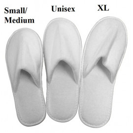 Closed Toe Velour Hotel Spa Salon Slippers Medium Size White 10/Pack
