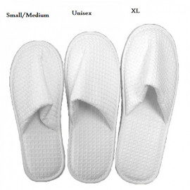 Closed Toe Waffle Standard Hotel Spa Salon Slippers Medium Size White 10/Pack