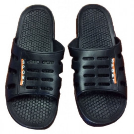 "PVC Open Toe Shower & Beach Slippers Small size (24 cm Sole Anti-Skid) Black Color ""Dolly"" 5 Pairs/ Pack"