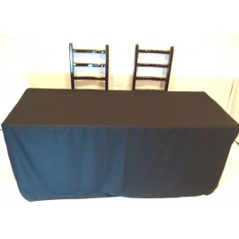 Fitted 8 ft. Slit Open Back Table cloth trade Show Dj Table Cover Black 2/Pack