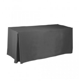 Fitted Rectangular 6 ft. Table cloth with Pleated Corners Black 2/Pack