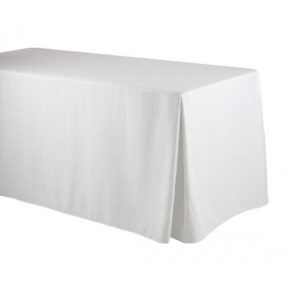 Fitted Rectangular 4 Ft Table Cloth With Pleated Corners