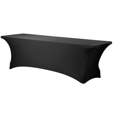 spandex stretch 8 ft fitted table cloth rectangular 96 x 30 black hospitality emporium. Black Bedroom Furniture Sets. Home Design Ideas