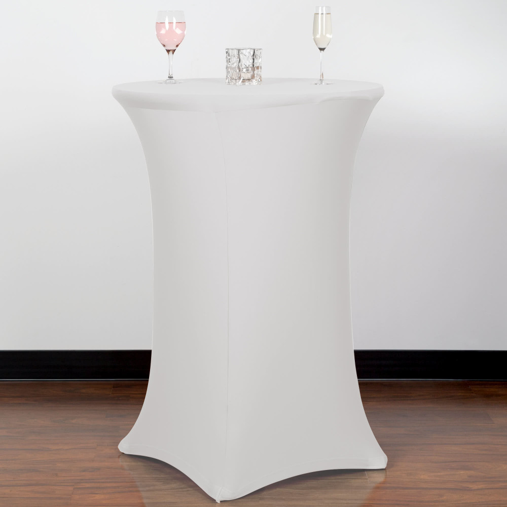 Spandex Stretch Fitted Cocktail Table Cloth 30 Wide White