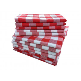 "Linen Napkins Red & White Checker 20""x 20"" 12/Pack"