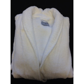 Hotel Spa Robes Terry Full Shawl Collar White Unisex 100% Cotton 2/Pack