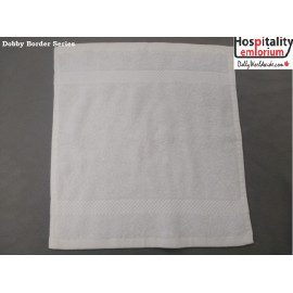 Dolly Luxury 100% Cotton w/ Dobby Border Face Towels 13x13 wt. 2.00 lbs/dz. White 12/Pack