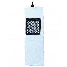 "Golf Towels Double folded w/ Zippered Pockets 23""x 7.5"" White color 10/Pack"
