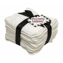 Dolly Terry Cotton Face cloth with rounded corners 12x12 wt.1.25 lbs/dz. White 12/Pack