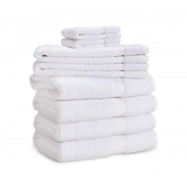 Dolly Luxury 100% Cotton w/ Dobby Border Hand Towels 27x17 wt. 5.50 lbs/dz. White 12/Pack