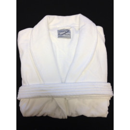 Hotel spa Robes Luxury Velour Plush Shawl Collar, White 100% Cotton 2/Pack