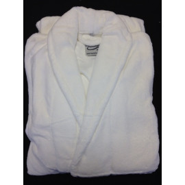 Hotel Spa Robes Fleece Plain Shawl Collar, white Unisex size 2/Pack