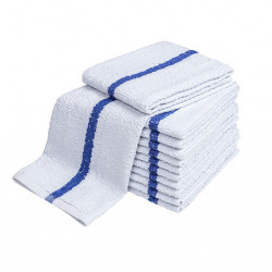 Pool Towels White with Center blue Stripe 48x24 wt. 8.00 lbs 6/Pack