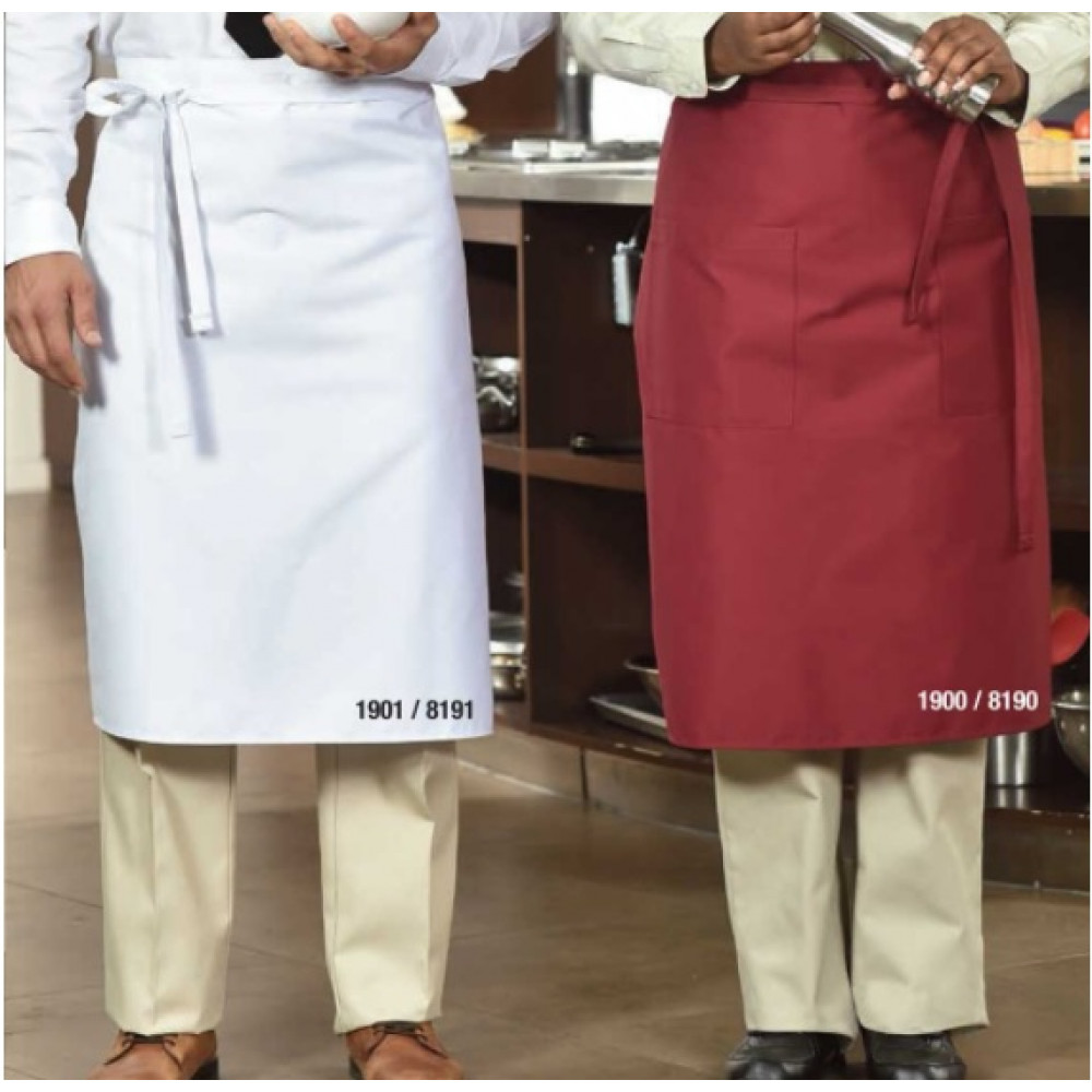 "Apron Bistro Poly/Cotton 36""W X 29""L pocket option multi-color 6/Pack"