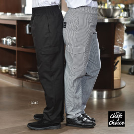 Baggy Chef Pants, With Cargo Pockets, Poly/Cotton Black/Woven Check 2/Pack