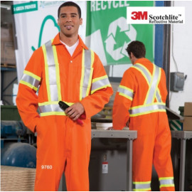 Reflective Tape Coveralls,Poly/Cotton Wide Reflective Tape,Adj.Cuff Orange/Navy Color