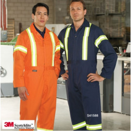 Coveralls With Reflective Tape Including the Waist, 2 Way Zipper, Adj.Cuff, Poly/Cotton Multi-color