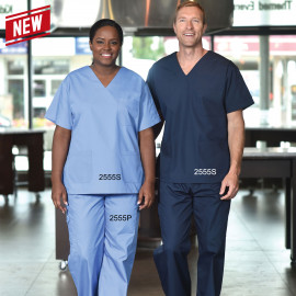 Scrub V-Neck Poly/Cotton Unisex Top & Bottom set 3 Pockets 6/Pack