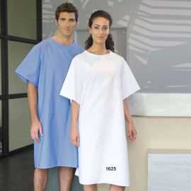 Premium Patient Gown Overlap Poly-Cotton Unisex Blue/White 6/Pack