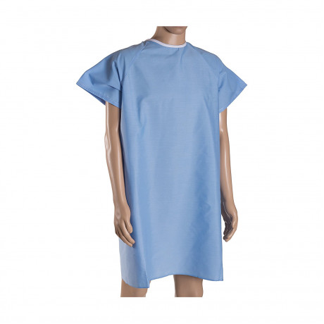 Patient Unisex Hospital Gowns with Back Tie Blue 6/Pack