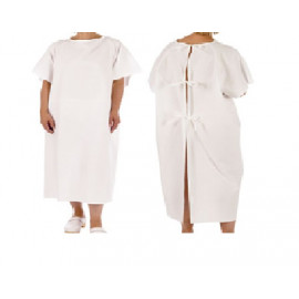 Patient Unisex Hospital Gowns with Back Tie White 6/Pack