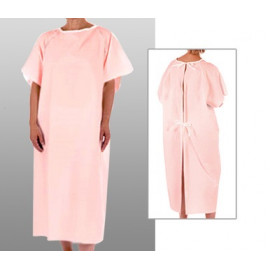 Patient Unisex Hospital Gowns with Back Tie Pink 6/Pack
