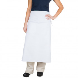 "Gold+Cross Bistro Apron Spunpoly 33"" x 29"" W White 6/Pack"