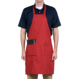 "Gold+Cross Bib Aprons 100% Polyester Full length with pockets 33"" X 29"" W Red 6/Pack"