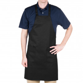 "Bib Apron Full length with pockets 33"" X 29"" W Black 6/Pack"