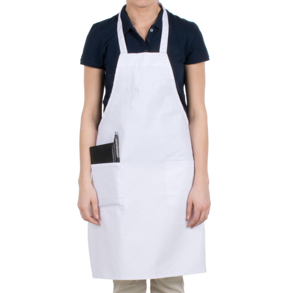 b9b195812ef Gold+Cross Bib Apron 100% Polyester Full length with pockets 33