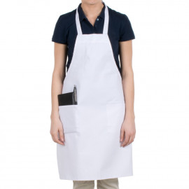 "Gold+Cross Bib Apron 100% Polyester Full length with pockets 33"" X 29"" W White 6/Pack"