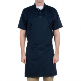 "Gold+Cross Bib Apron 100% Polyester Full length with pockets & pen pocket 33"" X 29"" W Navy 6/Pack"