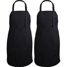 Salon Bib Aprons Nylon Waterproof with 3 Pockets Unisex Black
