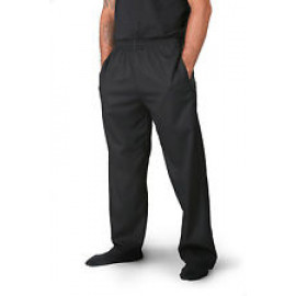 Chef Pants Rugby Style with Elastic waist Black 2/Pack